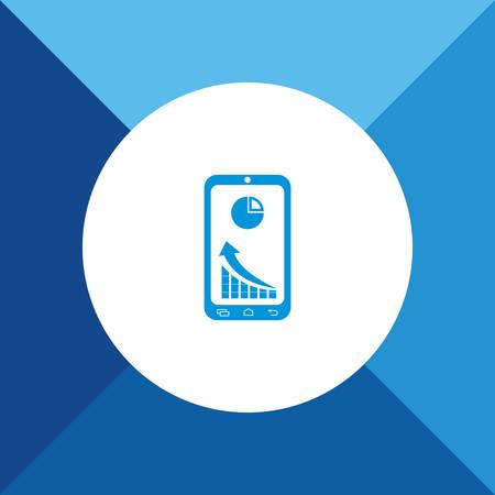 Market Status Icon on Blue Background.  Vector