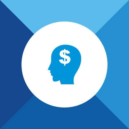 Think Money Icon on Blue Background.  Illustration