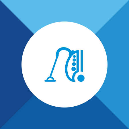 vac: Vacuum Cleaner Icon on Blue Background.