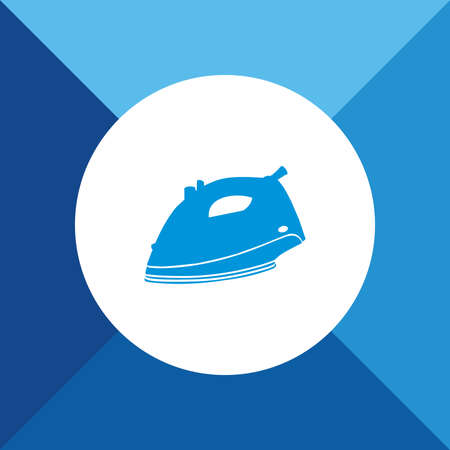 electric iron: Electric Iron Icon on Blue Background.