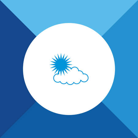 Weather (Cloud & Sun) Icon On Blue Background.  Vector