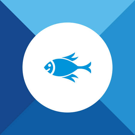 blue fish: Fish Icon On Blue Background. Eps-10. Illustration