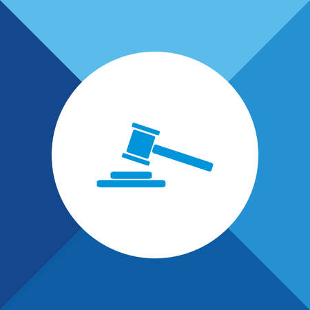 arbitrate: Hammer Judge Icon On Blue Background.  Illustration