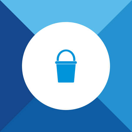 Bucket Icon On Blue Background.  Stock Illustratie