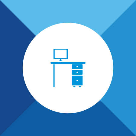 computer table: Computer Table Icon On Blue Background.