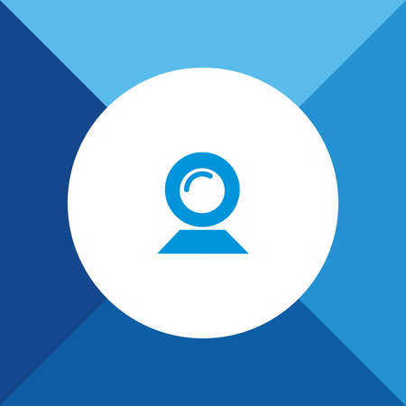 cam: Web Cam Icon on Blue Background.
