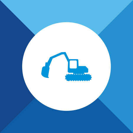 navvy: Excavator Icon on Blue Colored Background. Eps-10. Illustration