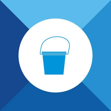 bucketful: Bucket Icon on Blue Colored Background. Eps-10. Illustration