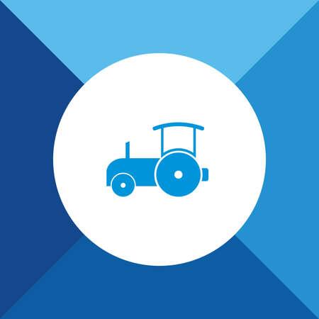 sidelight: Road roller Icon on Blue Background.  Illustration