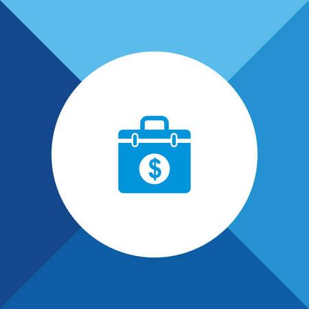 extortion: Money Suitcase Icon on Blue Background. Eps-10.