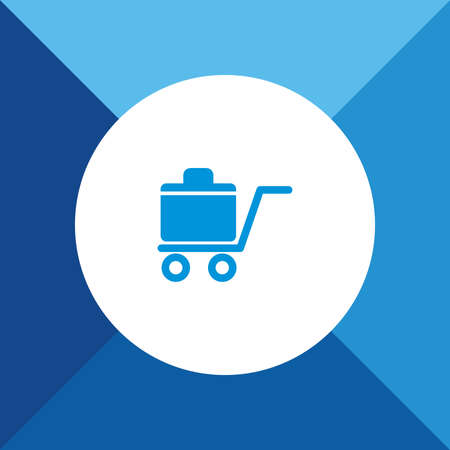 luggage carrier: Luggage Trolley Icon on Blue Colored Background.