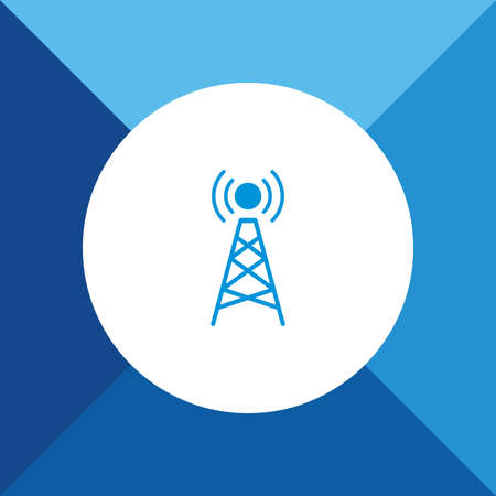 tower Icon on Blue Colored Background.