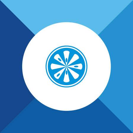 lemon slice: Lemon Slice Icon on Blue Colored Background.