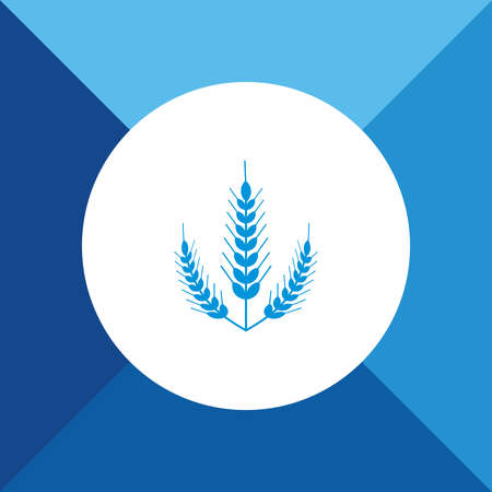 bran: Wheat Ears Icon on Blue Background. Eps-10.