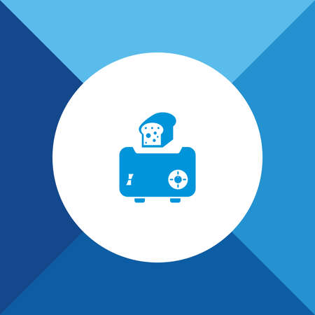 bread maker: Toaster Icon on Blue Background. Eps-10.