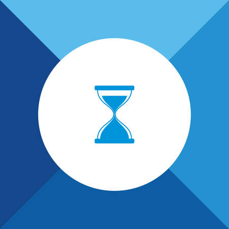 hour glass: Hour Glass Icon On Blue Background.