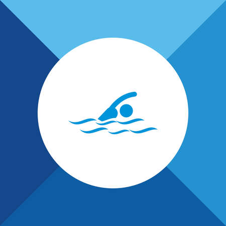 pool player: Swimmer Icon On Blue Background. Eps-10. Illustration