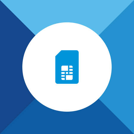 Sim Card Icon On Blue Background. Stock Illustratie