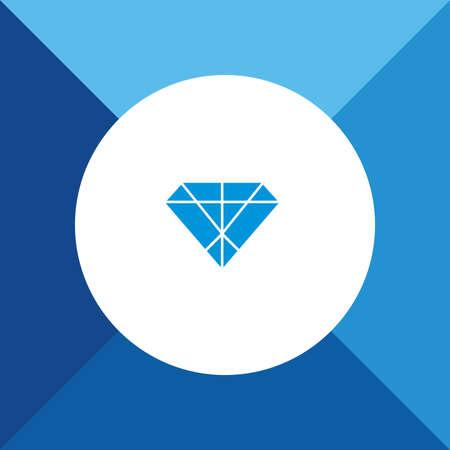 spoil: Diamond Icon On Blue Background.