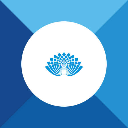 simple purity flowers: Lotus Icon on Blue Background.