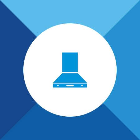 mantel: Electric Chimney Icon on Blue Background.  Illustration