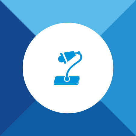 lamp shade: Table Lamp Icon on Blue Background.  Illustration