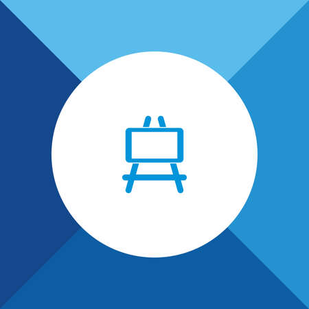 paper art projects: Painting Stand Icon on Blue Background. Eps-10.