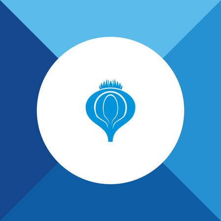pictogramme: Onion Icon on Blue Background.