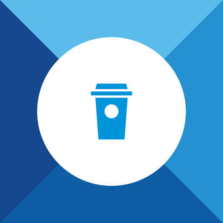 take out food container: Drink Cup Icon on Blue Background. Illustration