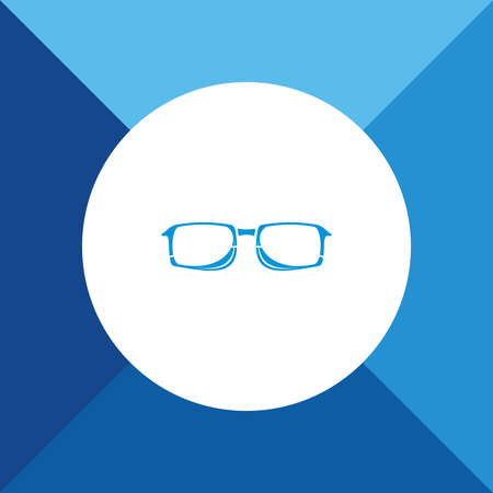ocular: Glasses icon on blue color background