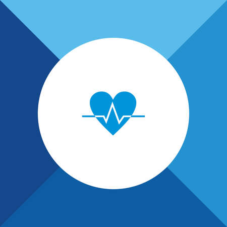 cardiograph: Heart Beat Icon on Blue Background.  Illustration