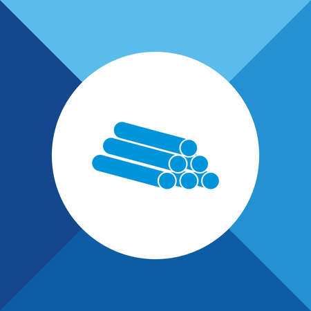 Pipes Icon On Blue Background. Eps-10. Illustration