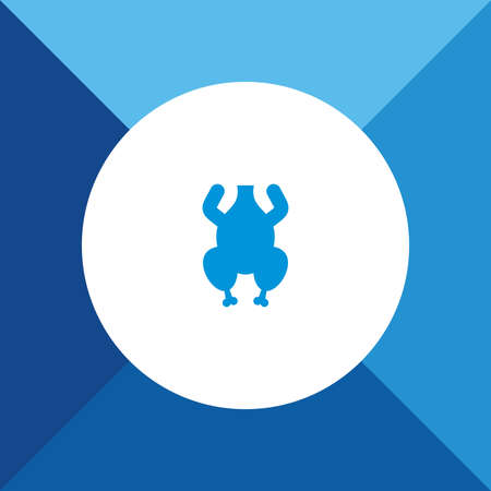 hot chick: Chiken meat icon on blue color background