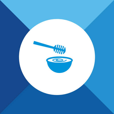 dipper: Honey dipper icon on blue color background Illustration