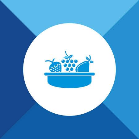 canasta de frutas: Cesta de fruta icono azul de fondo de color Vectores