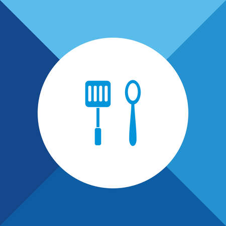 Spatula & spoon icon on blue color background Vector