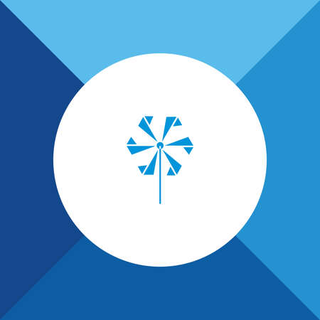 pinwheel toy: Pinwheel, toy fan icon on blue color background