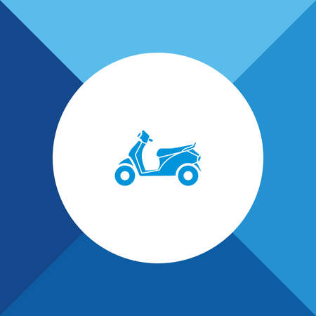 motor scooter: Motor scooter icon on blue color background