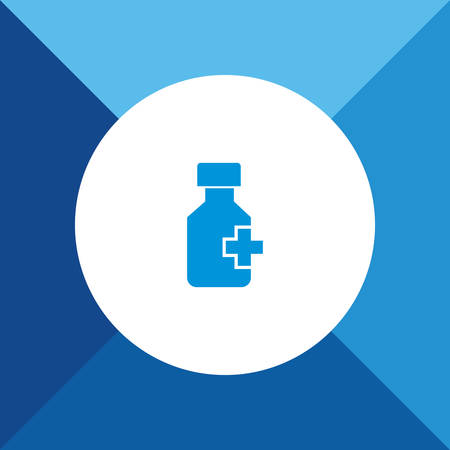 apothecary: Drug (medicine) bottle icon on blue color background