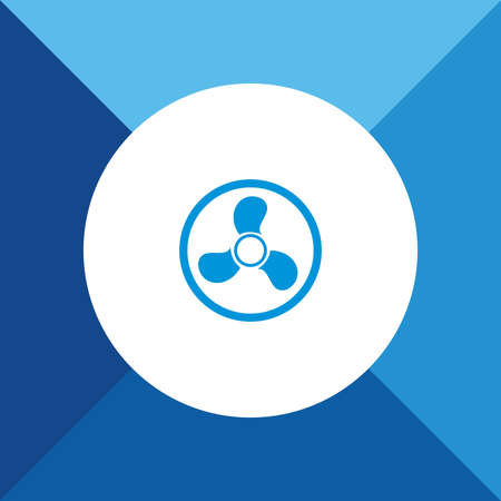 color fan: Fan icon on blue color background
