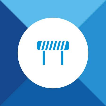 blocco stradale: Icona Blocco stradale su sfondo di colore blu