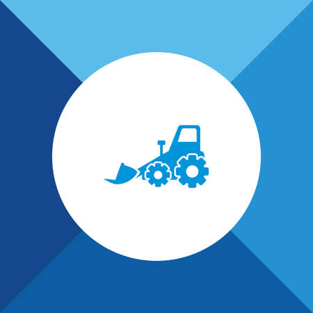 dredger: Bulldozer icon on blue color background