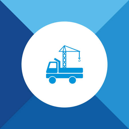 Crane truck icons on  blue color background Vector