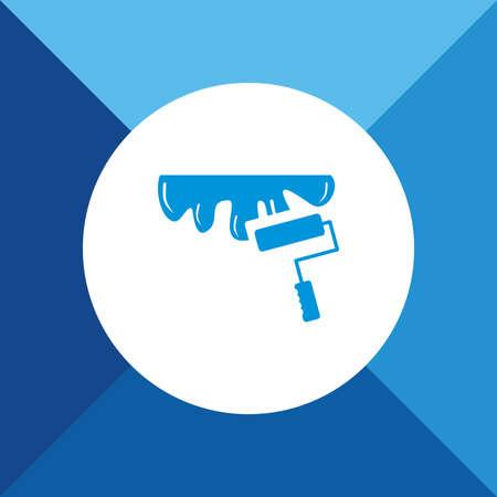 roller brush: Icono Pincel de rodillos en el fondo de color azul Vectores