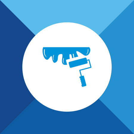 redecorate: Roller brush icon on blue color background Illustration