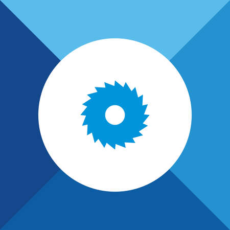 cutoff: Saw blade icon on blue color background