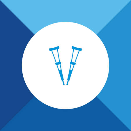 Crutches icon on blue color background