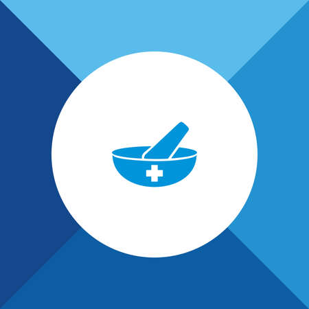 mortar and pestle: Mortar & Pestle icon on blue color background Illustration