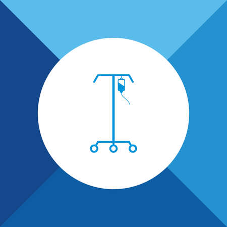 iv: Blood Donation (IV Stand ) icon on blue color background