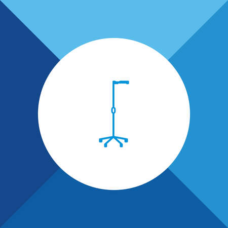 physio: Crutch icon on blue color background Illustration